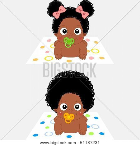 Cute Cartoon African Baby Girl and Boy