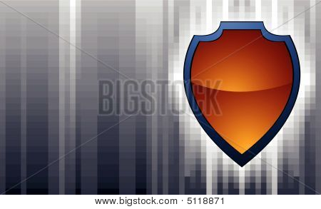 Shield On Abstract Background