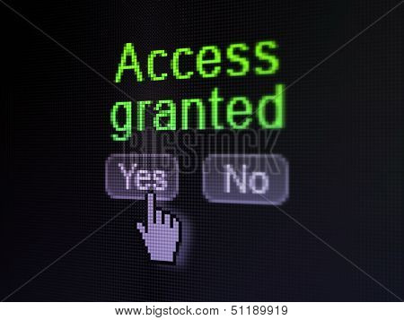Security concept: Access Granted on digital computer screen