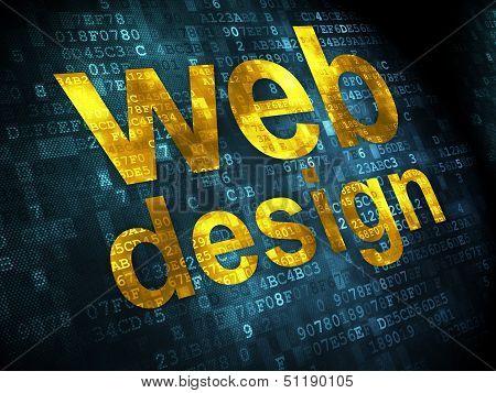 SEO web design concept: Web Design on digital background