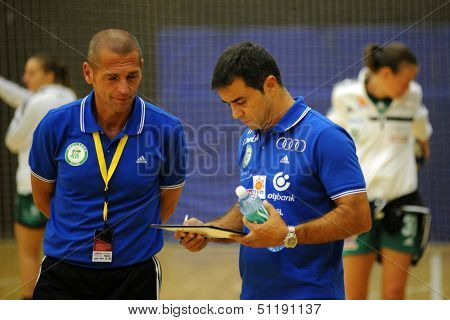SIOFOK, HUNGARY - SEPTEMBER 14: Martin Ambros (Gyor trainer) (R) in action at a Hungarian National Championship handball match Siofok (black) vs. Gyor (green), September 14, 2013 in Siofok, Hungary.