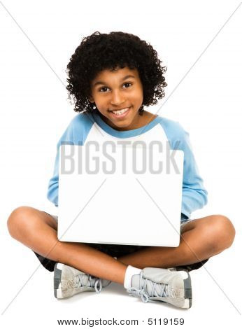 Portrait Of Boy Using Laptop