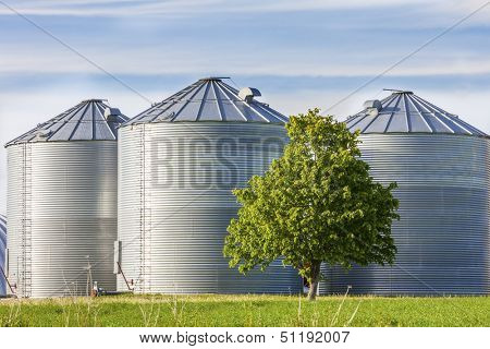 Granaries for storing wheat and other cereal grains.