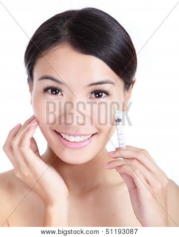 Cosmetic Botox Injection In Woman Face