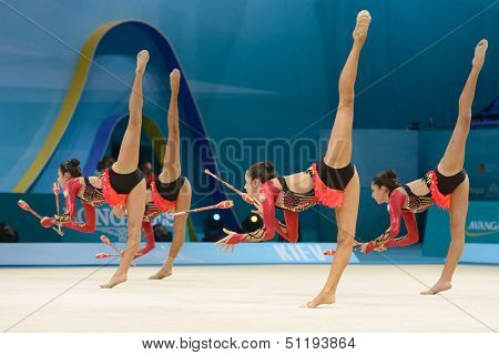 KIEV, UKRAINE - AUGUST 31: Team Azerbaijan performs the routing with clubs during the 32nd Rhythmic Gymnastics World Championships in Kiev, Ukraine on August 31, 2013