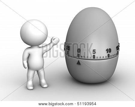 3D Man Showing Pomodoro Egg Timer
