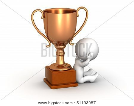 3D Man Disappointed Sitting Down Next to Bronze Trophy