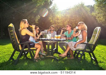 Group of young friends enjoying a garden party on a sunny afternoon