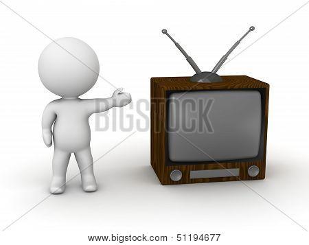Retro Concept - 3D Man Showing Vintage TV