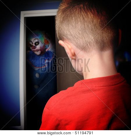 Scary Monster Clown In Boys Closet