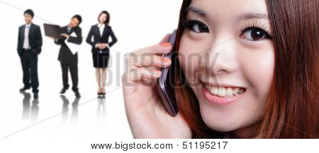 Young Business Woman Speaking Mobile Phone With Sweet Smile