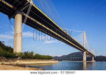 Ting Kau suspension bridge in Hong Kong