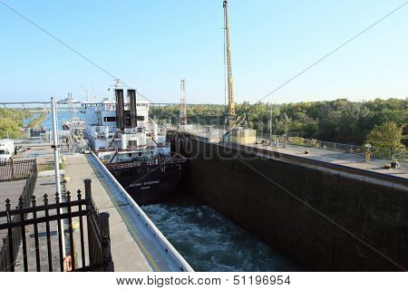 WELLAND CANAL-SEPT. 19:The Algoma Enterprise travels through Lock 3 of the Welland Canal on route from Lake Erie to Lake Ontario and the steel mills. September 19, 2013