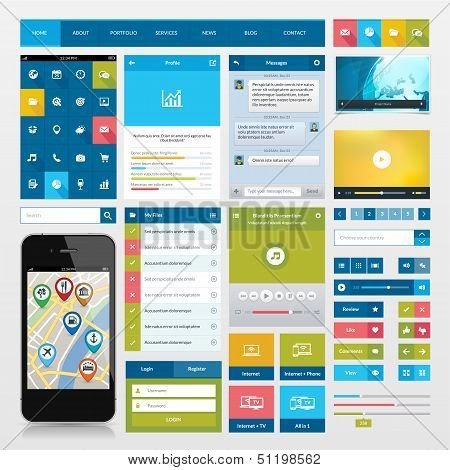 Set of flat icons and ui web elements
