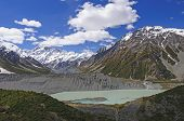 stock photo of hooker  - Mt Cook and the Hooker Valley from the Sealy Tarns trail - JPG