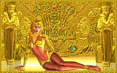stock photo of goddess  - A seductive 3d woman dressed in gold is the mythical guardian of the ancient Egyptian golden temple - JPG