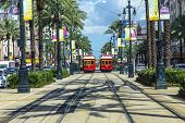 stock photo of passenger train  - NEW ORLEANS USA  - JPG