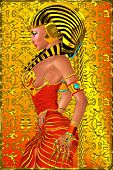 image of pharaoh  - Profile of Egyptian woman Pharaoh Queen on abstract orange and red background - JPG