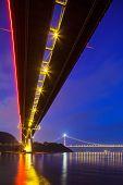 stock photo of tsing ma bridge  - Bottom view of the suspension bridge - JPG