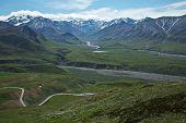 image of denali national park  - Visitors enjoy the trails in Alaska - JPG