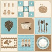 stock photo of abrasion  - Vector kitchen collage in vintage style - JPG