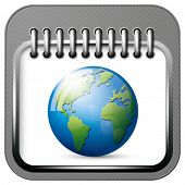 Vector app calendar icon with earth globe for web applications. All layers well organized and easy t
