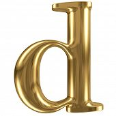 stock photo of letter d  - Golden font type letter d lowercase - JPG