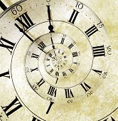 stock photo of roman numerals  - An old vintage clock face with a spiral suggesting infinite time - JPG