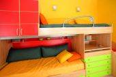 picture of bunk-bed  - Interior of colorful kids room with bunk bed - JPG