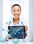 healthcare, hospital, research, science and medical concept - african female doctor with tablet pc a
