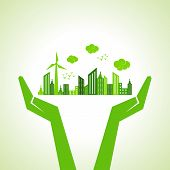 stock photo of sustainable development  - Save nature concept with hands stock vector - JPG