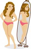 Illustration of a Plump Female Standing in Front of a Mirror and Seeing a Thin Girl in the Reflectio