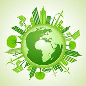 pic of sustainable development  - Eco earth with go green concept stock vector - JPG