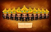 picture of navratri  - illustration of Raavana with ten heads for Dussehra - JPG