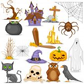 image of coffin  - illustration of set of Halloween element with pumpkin - JPG