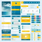 Set of flat web elements for mobile app and web design t-shirt