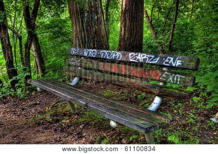 Graffiti Bench In The Woods