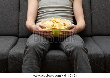 Man Eating Chips