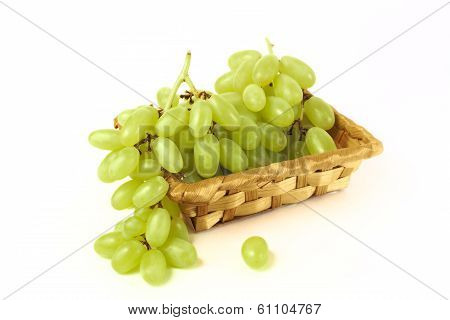 Wattled Basket With Grapes