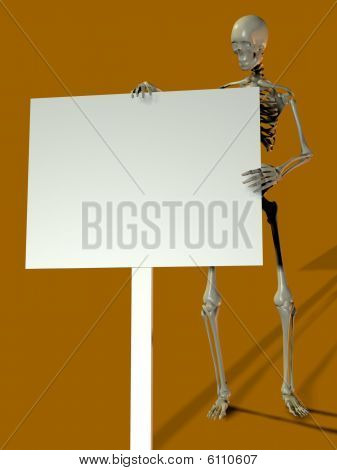 Esqueleto segurando cartaz