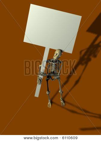 Esqueleto segurando o sinal
