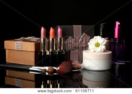 Beauty set gift on black background