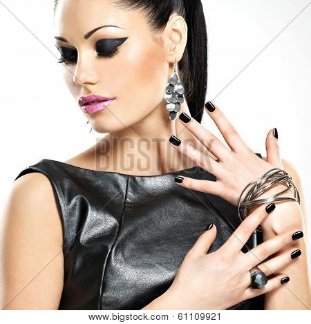 Beautiful Fashion Sexy Woman With Black Nails At Pretty Face