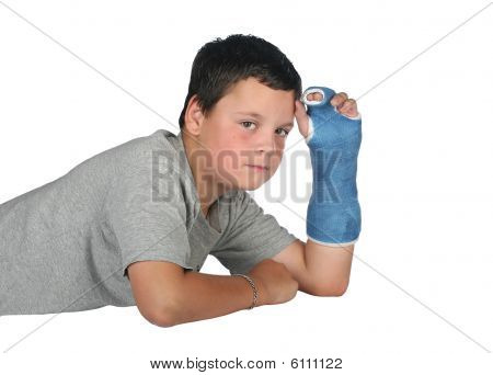 Young Boy In Pain In Cast
