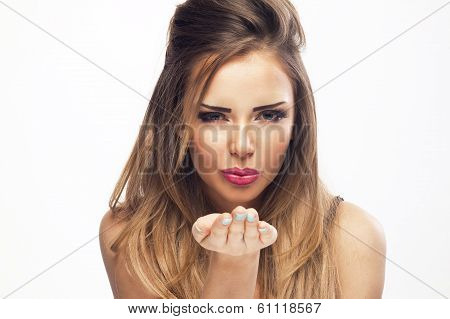 Portrait Of Beautiful Woman, She Is Sending Kiss