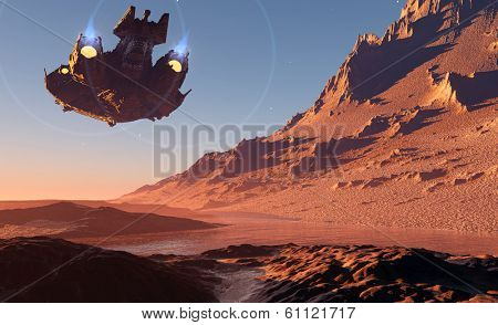 Spaceship on the background of the planet.