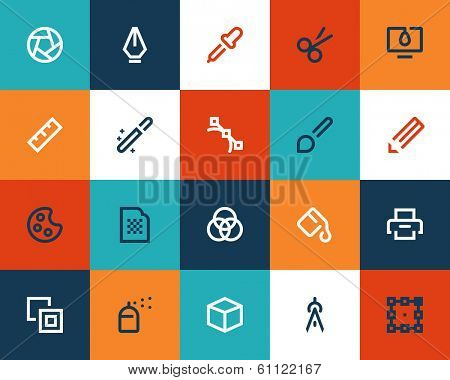 Graphic design tools. Flat icons