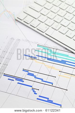 Gantt chart and keypad