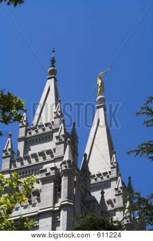 Salt Lake Temple Towers And Moroni