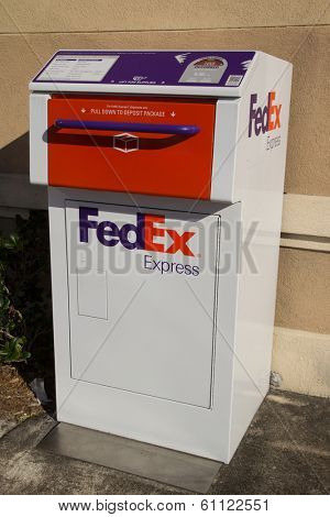 JACKSONVILLE, FL-MARCH 8, 2014: A FedEx Express drop box in Jacksonville. FedEx Express is the world's largest express transportation company and delivers packages to nearly every country each day.